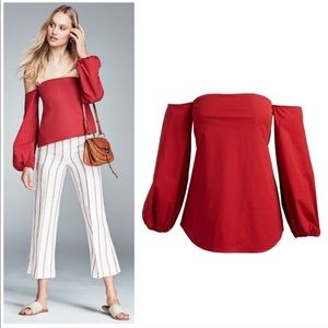 Theory Laureema off shoulder poplin red top